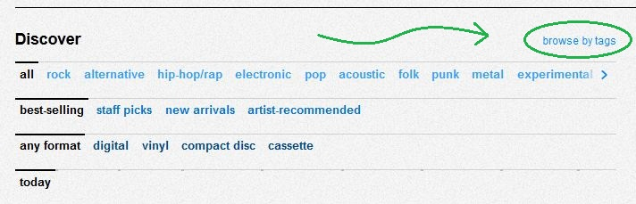 Uncover new music by tags on bandcamp